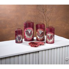 12356 FOOD SAFE RED ROOSTER CANISTERS SET OF 4