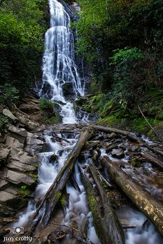 Mingo Falls waterfall in Great Smoly Mountains National Park North Carolina by Jim Crotty     .