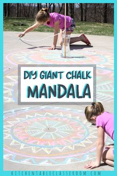 Use sidewalk chalk and a couple household supplies to make this huge chalk mandala. This makes a fun and easy collaborative art lesson or craft for camp or a scout meeting.