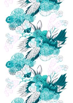 Pupulus (turquoise) Minna Parikka with Vallila Finland Guest Room Office, Flower Fashion, Turquoise, Finland, Artwork, Fabric, Flowers, Dreams, Inspiration