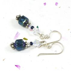 Handmade Silver Earrings Czech Faceted Cathedral Beads Green Iris