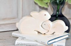 Lovely wooden bunnies mom & baby perfect as birth gift by fallinlo, €22.00