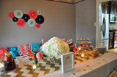 a cream tea baby shower in vibrant modern colors - perfect for boy and girl twins!  The last minute find of the gold and cream runner was bonus!