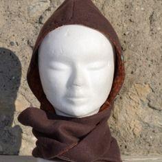 Capucharpe écharpe capuche réversible enfant (2/6 ans) en polaire marron doublée en coton marron tendance personnalisable
