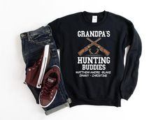 Customized Grandpa Hunting Sweatshirt Personalized Grandpa | Etsy Custom Fishing Shirts, Dad Puns, Personalized Gifts For Dad, Fisherman Gifts, Name Gifts, Fishing Gifts, Grandpa Gifts, Shirt Shop, Online Gift