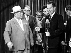 "Khrushchev and Nixon at the US trade fair in Moscow, July 24, 1959. This was the latest debate between the two leaders about the merits of communism versus capitalism, called the ""kitchen debate"". On Aug. 1, Khrushchev allowed Vice-President Nixon to speak on Soviet national television where he criticized communism and warned against any attempt to spread the ideology beyond the borders of the Soviet Union. Nixon returned to the USSR in May, 1972, this time as President."