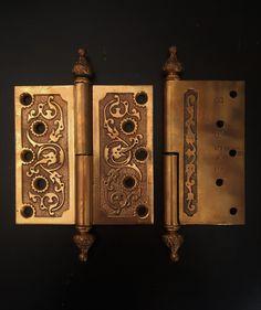 VTG Solid Heavy Chrome Brass Door Knob Set Victorian Eastlake Ornate Bullseye