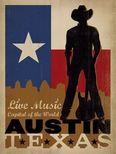 """Classic American Travel Posters by the Anderson Design Group for """"Live Music"""" in Austin, Texas"""