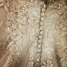 crystal buttons and lace