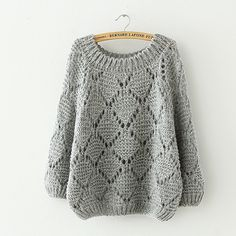China wholesale and retail fashion like Spandex & Polyester & Cotton Women Sweater loose geometric Free Siz are all available on YYW. Knitting Stitches, Free Knitting, Crochet Blouse, Knit Crochet, Loose Sweater, Knit Fashion, Crochet Clothes, Knitwear, Knitting Patterns