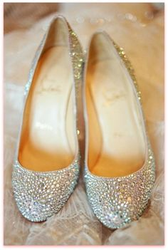 Christian Louboutin Silver Sparkle Shoes