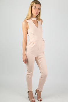 Tab Neck Crepe Fitted Jumpsuit In Nude