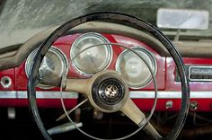 1957 Alfa Romeo Giulietta Spider Steering Wheel - Car photographs  by Jill Reger