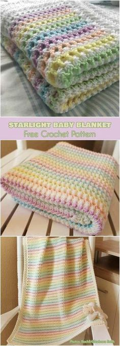 Starlight Baby Blanket Free Crochet Pattern Beautiful spring blanket will be perfect in baby crib or stroller. Adorable colors will go along with any baby outfits. Blanket is approximately x Motifs Afghans, Baby Afghans, Afghan Crochet Patterns, Baby Knitting Patterns, Baby Patterns, Crochet Stitches, Knit Crochet, Crochet Afghans, Vintage Patterns