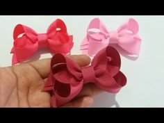 YouTube Fabric Flower Tutorial, Bow Tutorial, Fabric Flowers, Paper Flowers, Ribbon Hair Bows, Diy Hair Bows, Mini Boutique, Baby Hair Clips, How To Make Bows