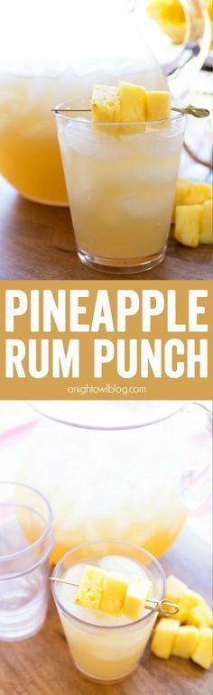 Pineapple Rum Punch – the perfect mix of tropical flavors in one amazing and easy to make party drink! Serve it up in this pitcher and glass from #WorldMarket. #WorldMarketTribe