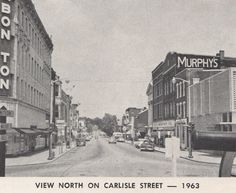 "View South on Baltimore Street in Hanover circa 1963.  his image also came from the ""Official Program – Hanover Bi-Centennial"", published in 1963. via Blake Stouch/Preserving York"
