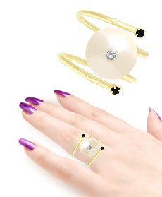 Anel ajustável folheado a ouro com pérola de 12 mm e pedrinha de strass - Clique para maiores detalhes