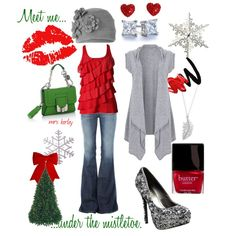 Christmas Kisses, created by tx-redhead on Polyvore