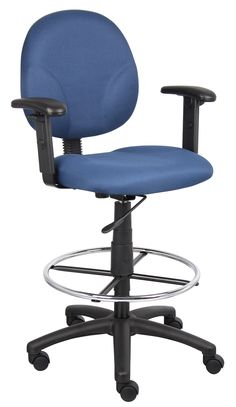 Boss Blue Fabric Drafting Stools - Adjustable Arms & Footring B1691-BE
