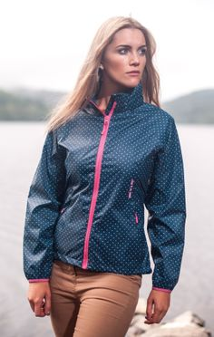 Here's the second new colour in the Elle Mac in a Sac. We are loving the ditsy polka dot print and the fresh pink trim | Target Dry http://www.targetdry.com/collections/ladies-jackets/products/mac-in-a-sac-ladies-elle-waterproof-jacket