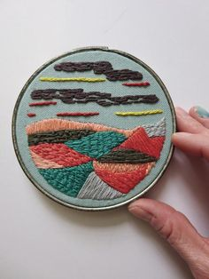 Hand Embroidered Art | Original Embroidery | Small Wall Art | Hygge Style | Cozy Art | Landscape Embroidery by Erin Eggenburg of wrenbirdarts