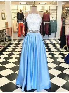 White and blue two pieces A-line special beaded lace high quality long Floor-length Prom Dresses Gown,cheap formal prom gown BD1705250