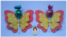 Karne hediyesi Kids Crafts, Diy And Crafts, Arts And Crafts, Butterfly Party, Butterfly Crafts, Friendship Day Cards, Lollipop Decorations, Fabric Crafts, Paper Crafts