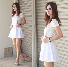 Romwe Embellished Sunnies, Romwe Lace Midriff Top, Romwe Suspender Skirt, Charlotte Olympia Pale Pink Wedges