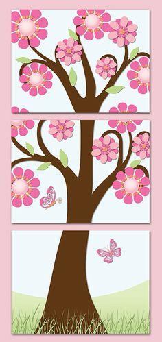 Flower Power Canvas Wall Art for Girls Room