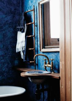 blue bathroom, from imperfect home by mark & sally bailey Bathroom Spa, Bathroom Colors, Bathroom Interior, Small Bathroom, Bathroom Ideas, Bathroom Inspiration, Interior Inspiration, Boho Decor, Rustic Decor
