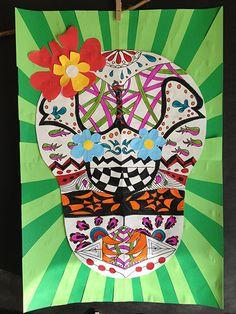 step-by-step Dia de los Muertos symmetry skulls from artsmudge.com