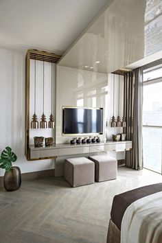 Kelly Hoppen - One Shenzhen Bay - Paris Tv Unit For Bedroom, Bedroom Tv Unit Design, Lcd Wall Design, Lcd Unit Design, Tv Unit Interior Design, Kelly Hoppen Interiors, Kelly Hoppen Bedding, Tv Units, Home Tv