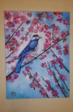 "30x40 cm oil painting"" blue bird by nursen hosver"