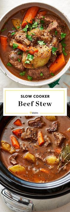 How To Make the BEST Beef Stew In the Crockpot. Need recipes and ideas for meals and dinners to make in slow cookers or crock pots? This is one of the most classic crowd pleasers that all families love. Easy, healthy, and wholesome, made with bottom round beef roast, flour, onion, dry red wine, carrots, potatoes, bay leaves, beef broth, tomato paste. Comfort food like this is perfect for cold weather cooking. #beefbrothcrockpot #beefbrothhealthy #beefbrothideas #beeffoodrecipes