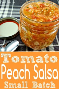 Tomato Peach Salsa This Tomato Peach Salsa is light and refreshing combining the flavors of red ripened tomato yellow onion and sweet fresh peaches accented with cilantr. Salsa Canning Recipes, Peach Salsa Recipes, Tomato Salsa Recipe, Canning Salsa, Fresh Tomato Recipes, Jam Recipes, Sauce Recipes, Cooking Recipes, Peach Salsa Recipe For Canning
