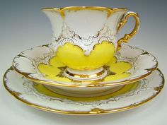 Vintage porcelain tea set by Meissen, Germany. Lovely china is the perfect reason for a special tea. Antique Tea Cups, Teapots And Cups, Teacups, Cuppa Tea, China Tea Cups, My Cup Of Tea, Mellow Yellow, Bright Yellow, Tea Cup Saucer