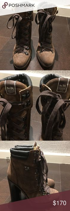 "Authentic Brown Suede Coach Lace-Up Boots, Size 8. This is an awesome pair of authentic Coach brown suede lace-up boots AKA Coach Carol Boots. They're brand new, without the box. Size 8. I'm so in love with them, but my husband and I are the same height and the heel is 5""; I never even got to wear them once! Hopefully one of you will enjoy these amazing beauties since I never got to. I'll live vicariously through you! Retail $249. Coach Shoes Lace Up Boots"