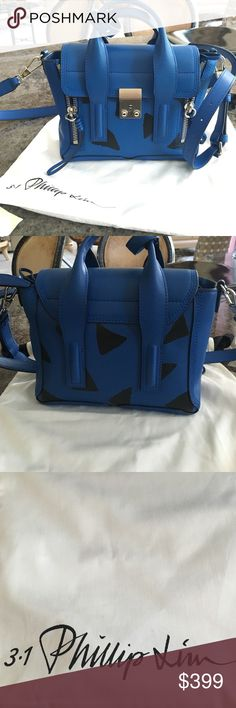 3.1 Phillip Lim Pashli Mini Leather Satchel Rare Royal Blue Purse with Black Triangles- UNUSED 3.1 Phillip Lim Bags Mini Bags