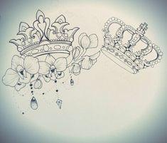 16 best ideas of king and queen tattoos Dream Tattoos, Badass Tattoos, Future Tattoos, Body Art Tattoos, Sleeve Tattoos, Queen Crown Tattoo, King Queen Tattoo, Family Tattoos, Couple Tattoos