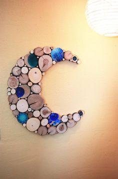 Items similar to Blue Moon Reclaimed Wood Wall Sculpture Celestial Dreams Hand-painted tree slices Wood art Mandala art dots nursery decor Modern Art on Etsy Wood Slice Crafts, Wooden Crafts, Diy Crafts, Wood Sculpture, Wall Sculptures, Sculpture Ideas, Modern Nursery Decor, Wood Slices, Tree Slices