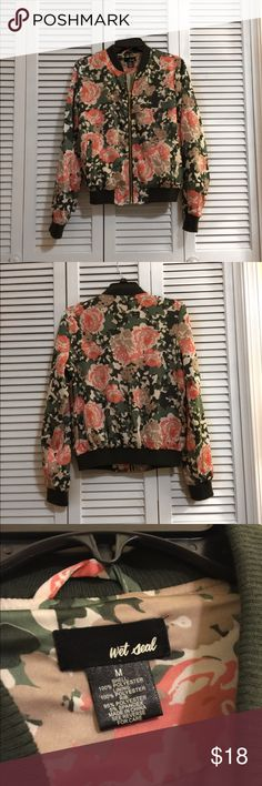 Flower Bomber Jacket Worn a handful of times, in great condition! Wet Seal Jackets & Coats