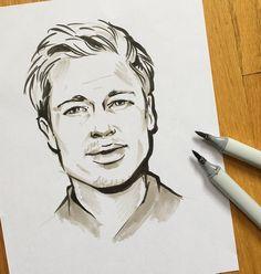 Quick #portrait #practice -- i #love#copic #markers #bradpitt #illustration #art #sketch