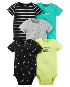 Baby Boy Clothes Carter's Baby Boys' 5 Pack Bodysuits (Baby) - Out of this World NB The Babys, Niñas Carters Baby, Baby Boy Outfits, Kids Outfits, Baby Body, Baby Kids Clothes, Work Clothes, Baby Girl Newborn, Baby Girls