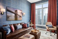 Yacht Club and Rivets featuring Phillip Jeffries, the world's leader in natural, textured and specialty wallcoverings Yacht Interior, Interior Design, Yacht Week, How To Install Wallpaper, Bedside Lighting, Brown Sofa, Workplace Design, Bonus Rooms, Of Wallpaper