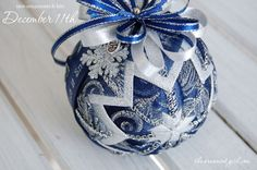 Let it Snow - Shimmery Blue Handmade Quilted Ornament