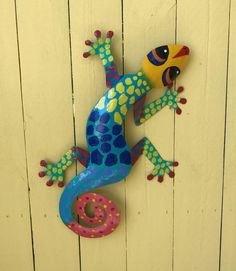 Beautiful Caribbean hand crafted Gecko wall art  available in variety of colors and sizes