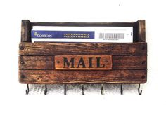 Rustic Wooden Mail Holder and Key Rack, Wooden Wall Mount Entryway Organizer #Handmade #Rustic