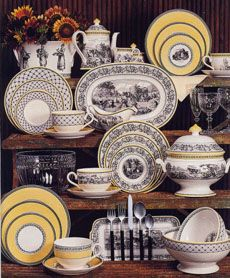 Villeroy & Boch Audun China Collection: TH Pantry Inventory also Yellow Bordered/Horsemen center scene. (upper right corner) Tea Art, Dinner Sets, Dinner Parties, China Sets, Vintage Dishes, China Patterns, Mellow Yellow, Tablescapes, Dinnerware