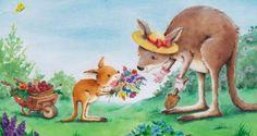 Cee Biscoe - C_kangaroos_watercolour_flowers